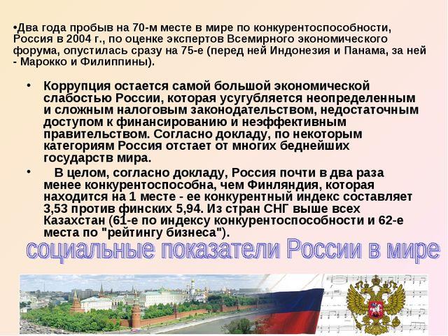 Коррупция остается самой большой экономической слабостью России, которая усуг...