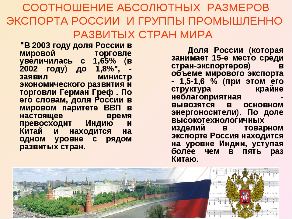 СООТНОШЕНИЕ АБСОЛЮТНЫХ РАЗМЕРОВ ЭКСПОРТА РОССИИ И ГРУППЫ ПРОМЫШЛЕННО РАЗВИТЫХ...
