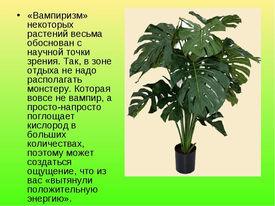 «Вампиризм» некоторых растений весьма обоснован с научной точки зрения. Так,...