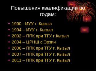 Повышения квалификации по годам: 1990 - ИУУ г. Кызыл 1994 – ИУУ г. Кызыл 2002