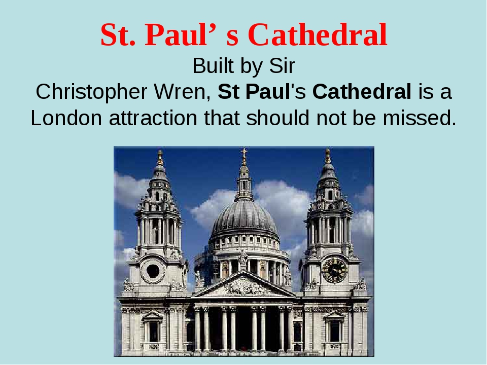 St. Paul' s Cathedral Built by Sir ChristopherWren,StPaul'sCathedral is a...