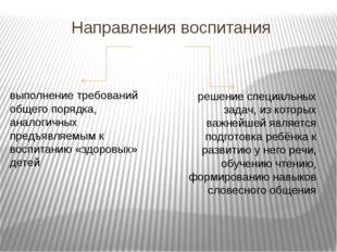 Направления воспитания выполнение требований общего порядка, аналогичных пред