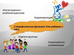 Специфические функции для ребенка с ОВЗ Абилитационно - реабилитационная Кор