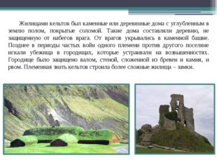 Жилищами кельтов был каменные или деревянные дома с углубленным в землю полом