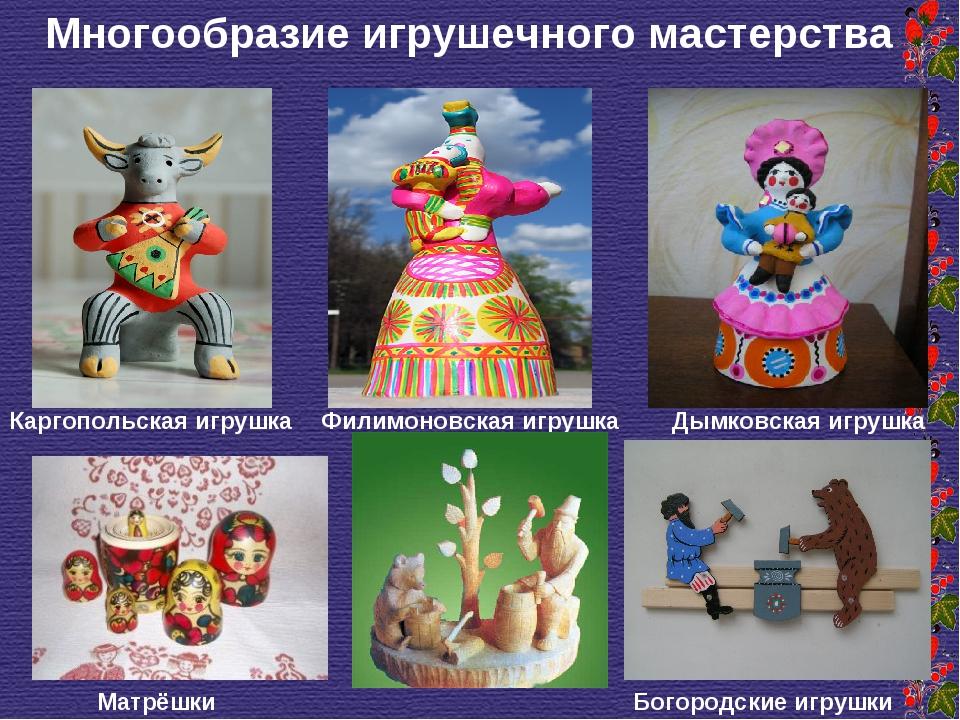 Многообразие игрушечного мастерства Дымковская игрушка Каргопольская игрушка...