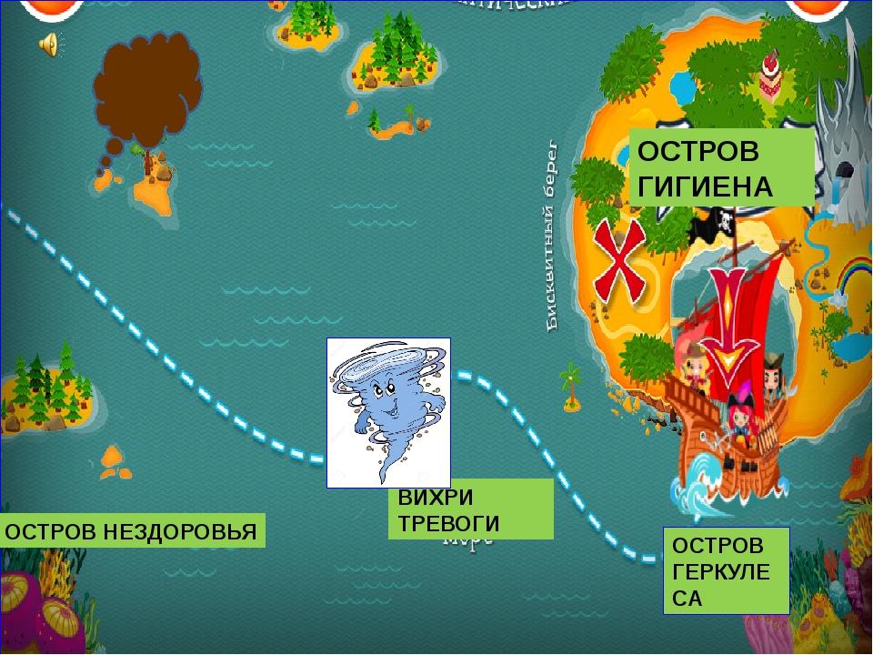 ОСТРОВ ГИГИЕНА ОСТРОВ ГЕРКУЛЕСА ОСТРОВ НЕЗДОРОВЬЯ ВИХРИ ТРЕВОГИ