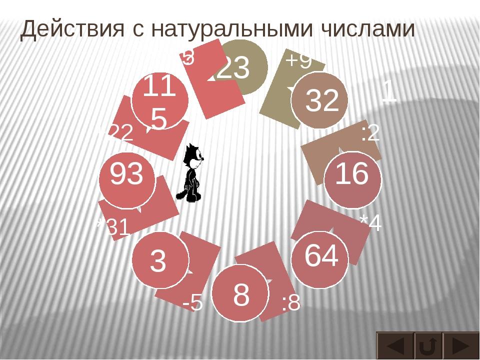 Действия с натуральными числами 23 32 16 64 93 1 115 3 8 +9 :2 *4 :8 -5 *31 +...