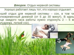 Второе. Отдых нервной системы Хорошо работает лишь тот, кто хорошо отдыхает.