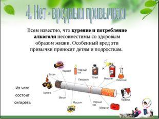 Всем известно, что курение и потребление алкоголя несовместимы со здоровым об