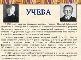 УЧЕБА В 1920 году, окончив Уржумское реальное училище, Николай Заболоцкий отп