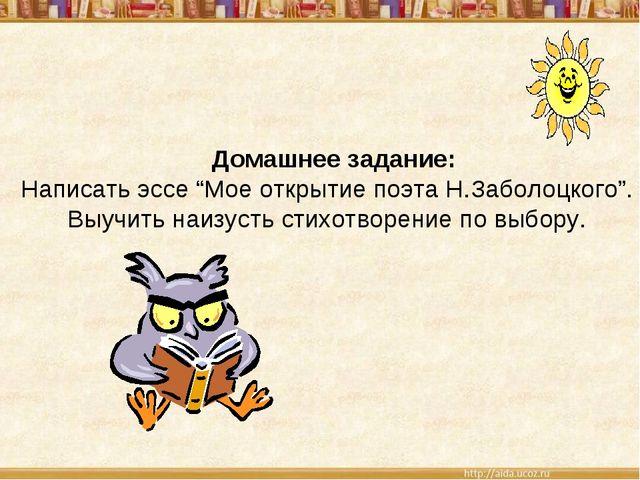 """Домашнее задание: Написать эссе """"Мое открытие поэта Н.Заболоцкого"""". Выучить..."""
