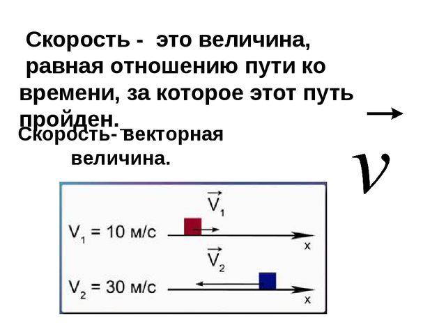 Скорость- векторная величина. Скорость - это величина, равная отношению пути...