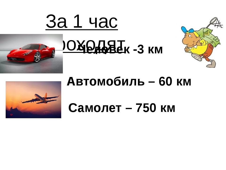 За 1 час проходят Человек -3 км Автомобиль – 60 км Самолет – 750 км