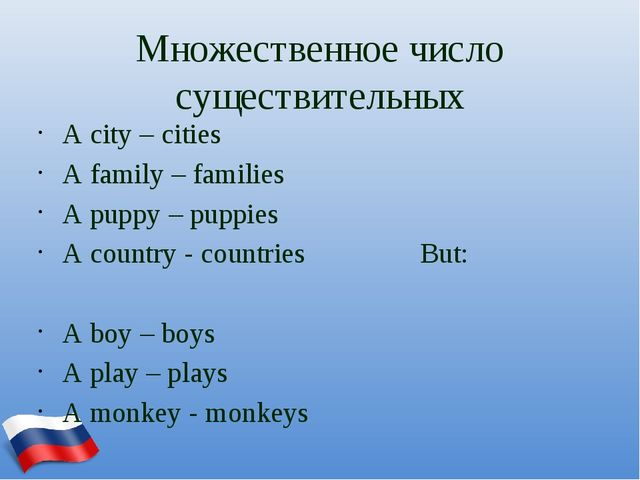 Множественное число существительных A city – cities A family – families A pup...