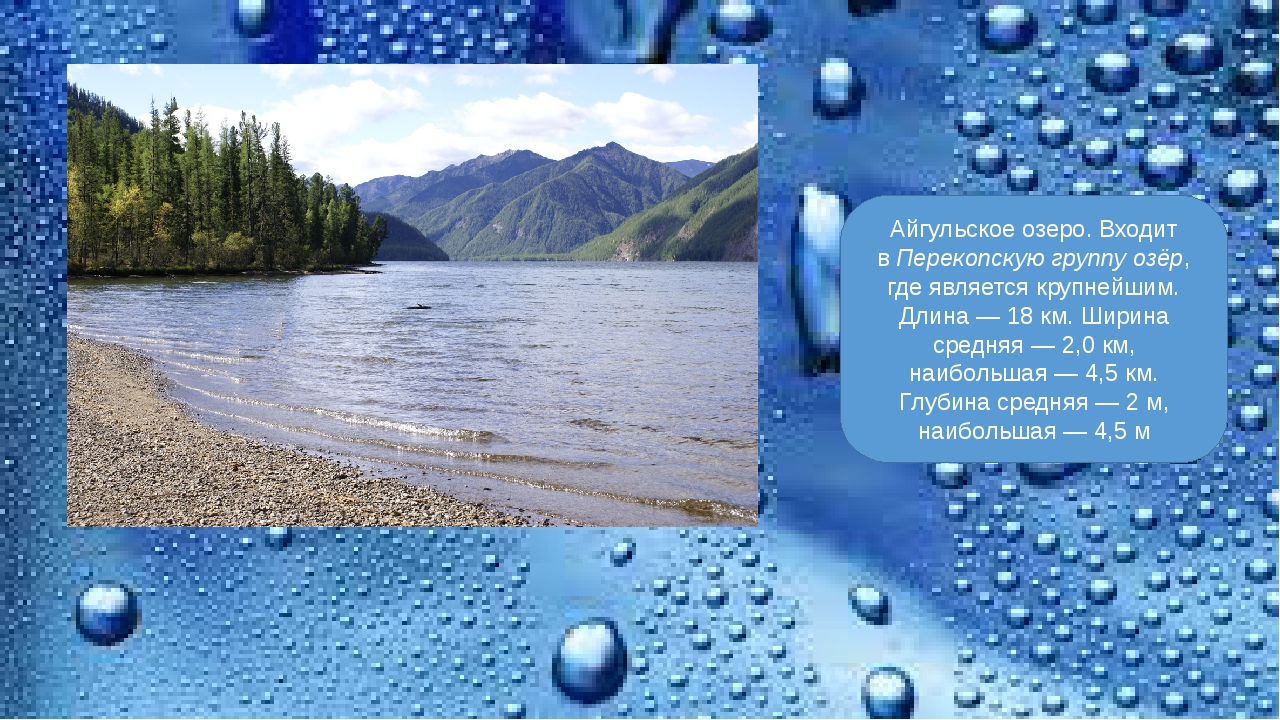 Айгульское озеро. Входит вПерекопскую группу озёр, где является крупнейшим....