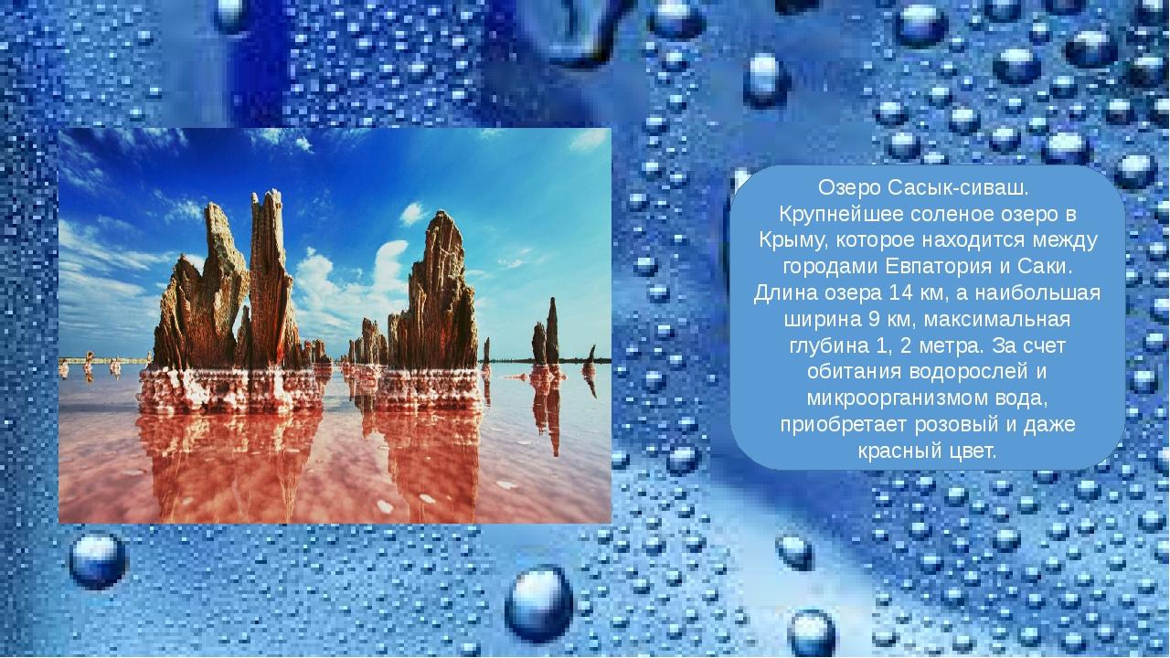 Озеро Сасык-сиваш. Крупнейшее соленое озеро в Крыму, которое находится между...