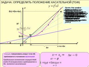 ЗАДАЧА: ОПРЕДЕЛИТЬ ПОЛОЖЕНИЕ КАСАТЕЛЬНОЙ (TGΦ) х у 0 М0 х0 f(x0) М х f(x) =x0