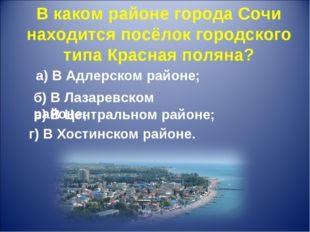 В каком районе города Сочи находится посёлок городского типа Красная поляна?