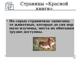 Страницы «Красной книги» На серых страничках записаны те животные, которые до