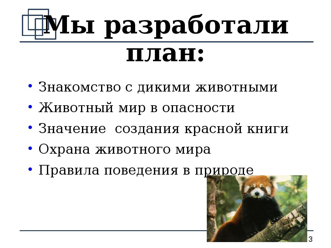 Мы разработали план: Знакомство с дикими животными Животный мир в опасности З...