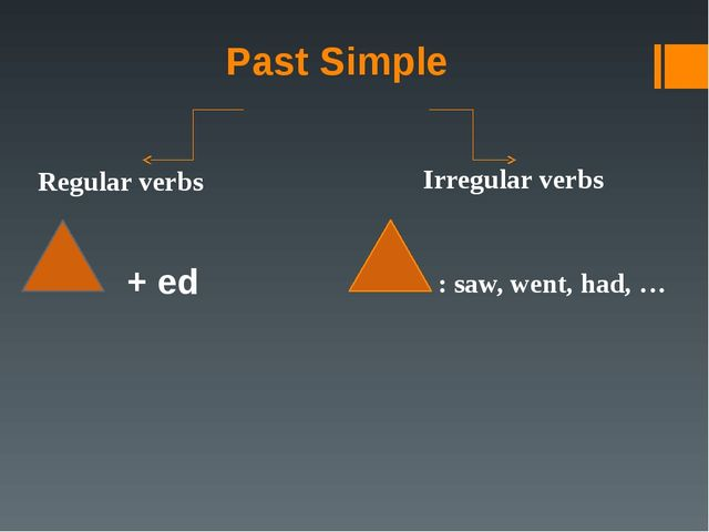 Past Simple Regular verbs Irregular verbs + ed : saw, went, had, …