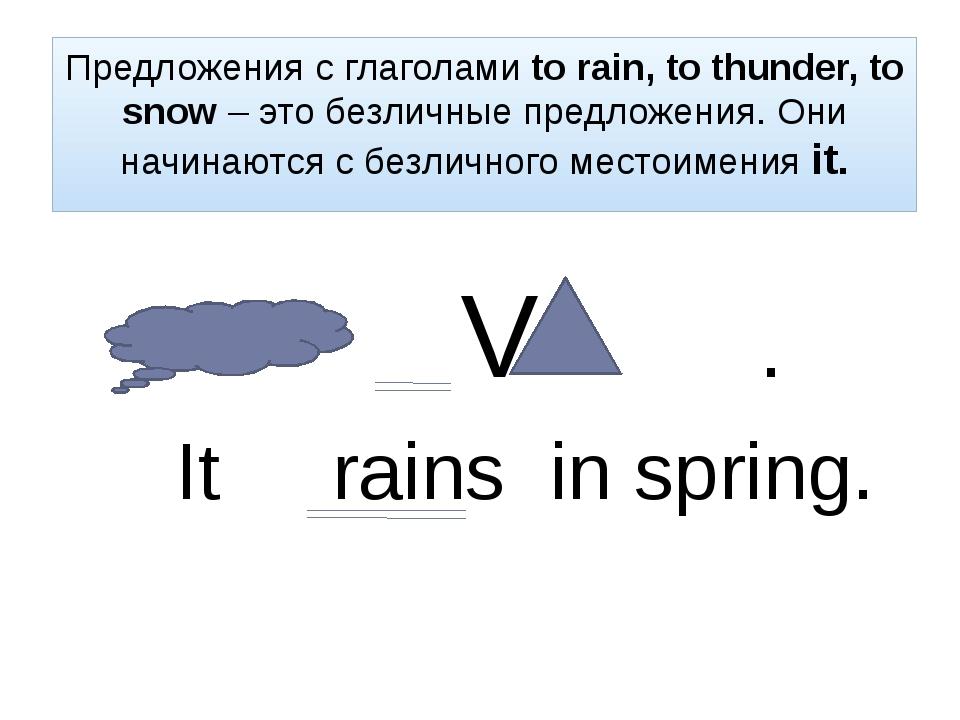 Предложения с глаголами to rain, to thunder, to snow – это безличные предложе...