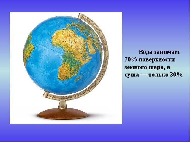 Вода занимает 70% поверхности земного шара, а суша — только 30%