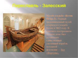 Переславль - Залесский Музей-усадьба «Ботик Петра I». Первый провинциальный м