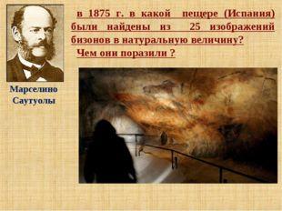 в 1875 г. в какой пещере (Испания) были найдены из 25 изображений бизонов в н