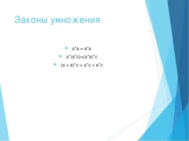 Законы умножения а*в = в*а а*(в*с)=(а*в)*с (а + в)*с = а*с + в*с