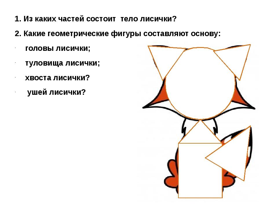 1. Из каких частей состоит тело лисички? 2. Какие геометрические фигуры соста...
