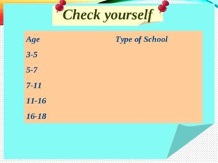 Check yourself Age	Type of School 3-5	 5-7	 7-11	 11-16	 16-18