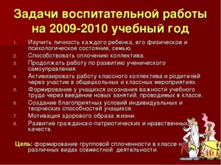 Задачи воспитательной работы на 2009-2010 учебный год Изучить личность каждог