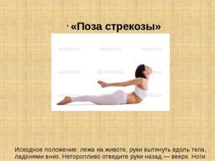 «Поза стрекозы» Исходное положение: лежа на животе, руки вытянуть вдоль тела,