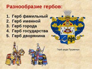 Разнообразие гербов: 1. Герб фамильный 2. Герб именной 3. Герб города 4. Герб