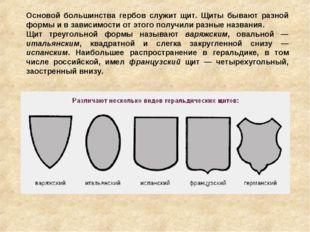 Основой большинства гербов служит щит. Щиты бывают разной формы и в зависимос