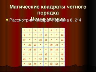Магические квадраты четного порядка Четно четные Рассмотрим квадрат порядка 8