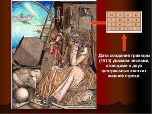 Дата создания гравюры (1514) указана числами, стоящими в двух центральных кле