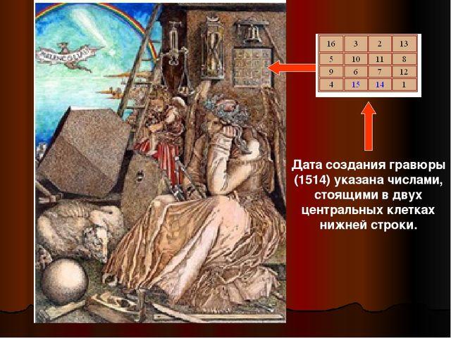 Дата создания гравюры (1514) указана числами, стоящими в двух центральных кле...