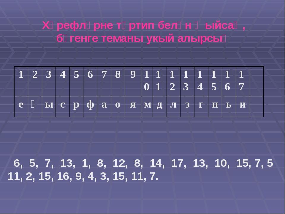 Хәрефләрне тәртип белән җыйсаң, бүгенге теманы укый алырсың 6, 5, 7, 13, 1,...