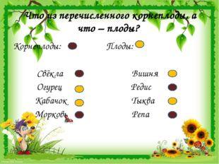 Что из перечисленного корнеплоды, а что – плоды? Корнеплоды: Плоды: Свёкла Ви