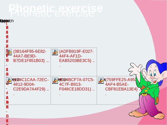 Phonetic exercise Phonetic exercise
