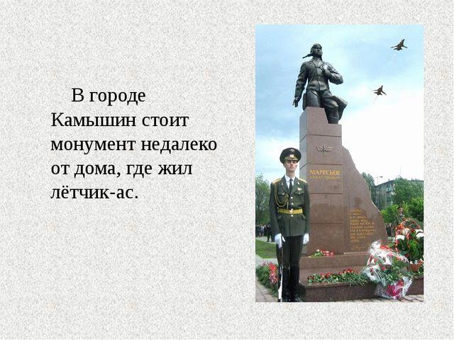 В городе Камышин стоит монумент недалеко от дома, где жил лётчик-ас.