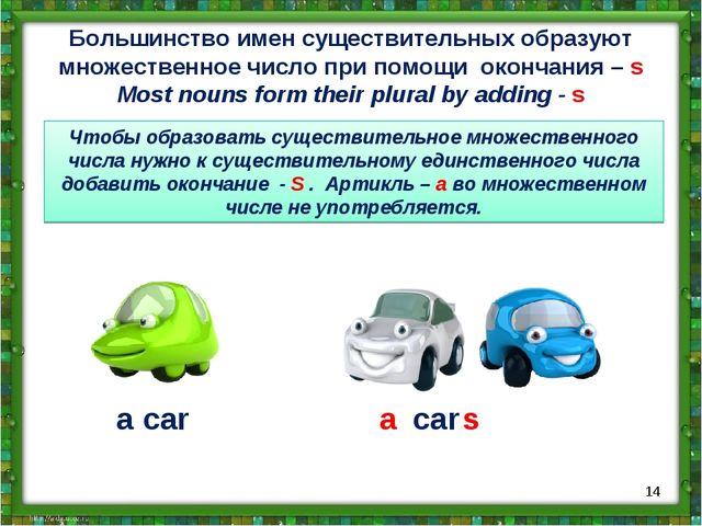 Большинство имен существительных образуют множественное число при помощи окон...