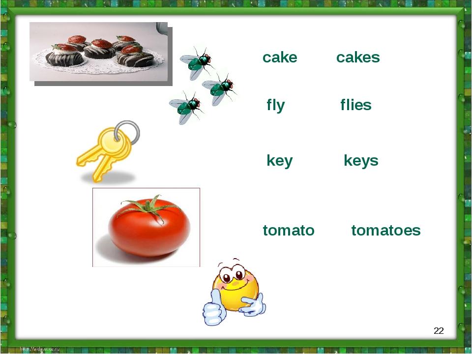 cake cakes fly flies key keys tomato tomatoes *
