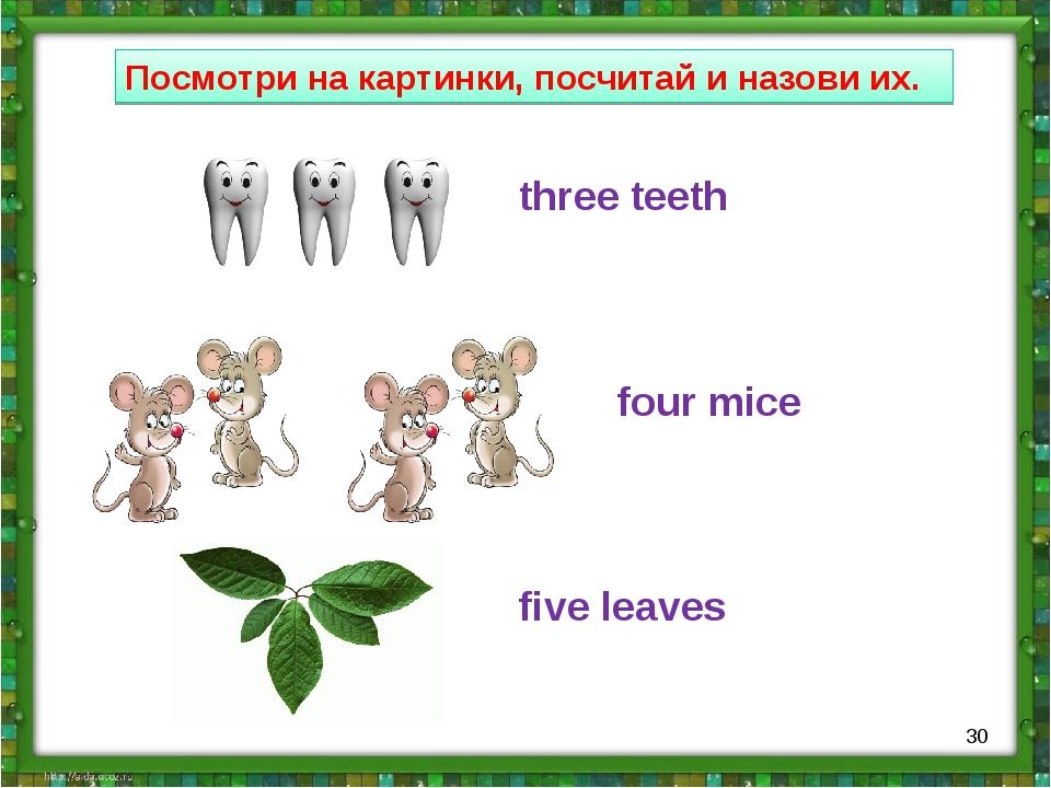 Посмотри на картинки, посчитай и назови их. three teeth four mice five leaves *