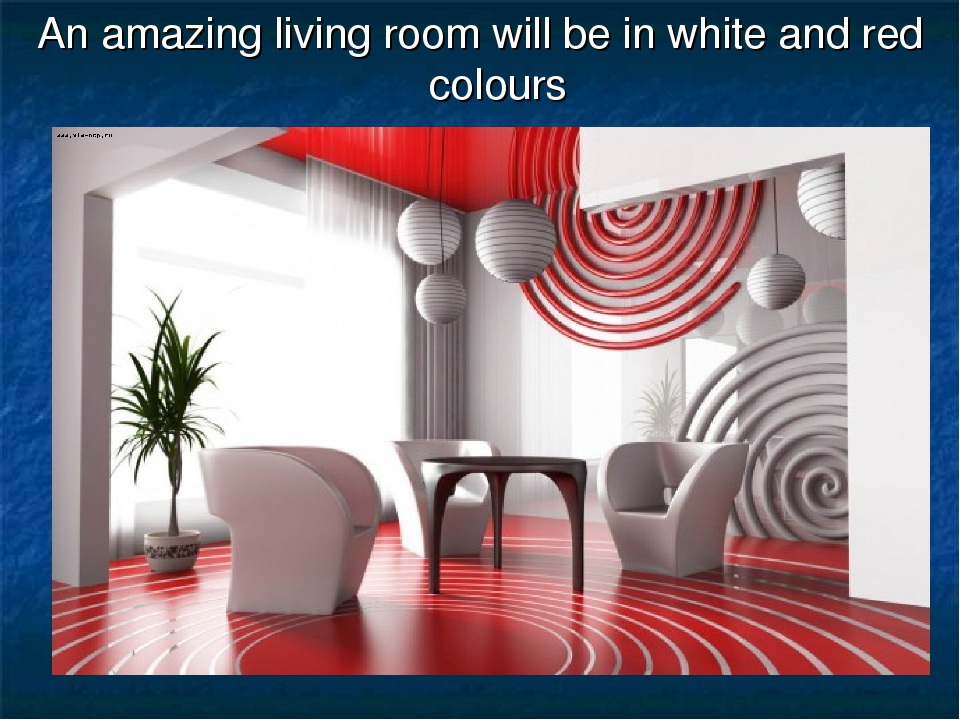 An amazing living room will be in white and red colours