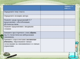 Оцени «+» или «-» Определите тему текста   Определите позицию автора