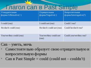 Глагол can в Past Simple Can – уметь, мочь Самостоятельно образует свою отриц