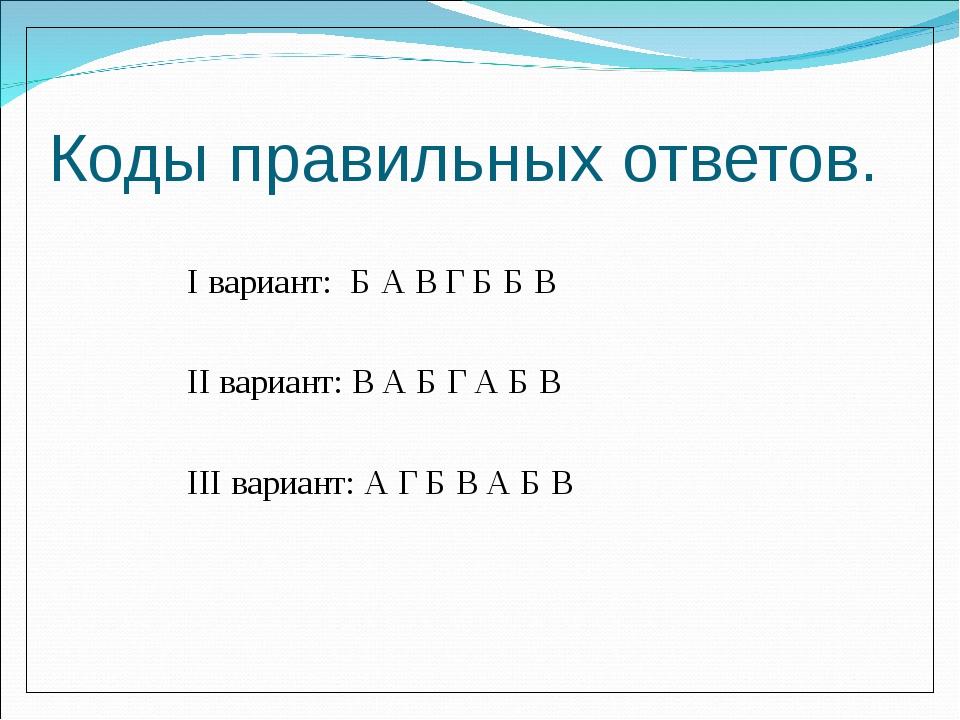 Коды правильных ответов. I вариант: Б А В Г Б Б В II вариант: В А Б Г А Б В I...
